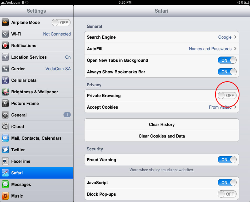how to change private browsing on ipad